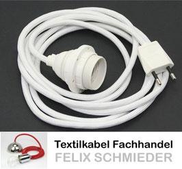 Textilkabel Leuchtenpendel weiß mit E27 Kunststoff-Fassung weiß mit Außengewinde und Euro-Flachstecker weiß
