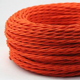 Textilkabel Stoffkabel orange 3-adrig 3x0,75 gedreht verseilt einzeln umflochten