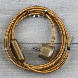Textilkabel Anschlussleitung 2-5m gold mit Schalter u. Schutzkontakt Winkelstecker