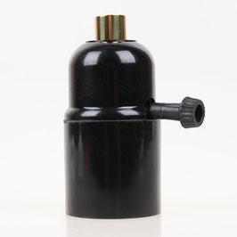 E27 Bakelit Fassung mit Drehschalter Zugentlaster Metall Messing poliert