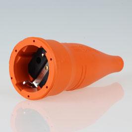 PVC Schutzkontakt-Kupplung Gummikupplung orange 250V/16A spritzwassergeschützt IP44