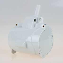 3-fach Schutzkontakt-Kupplung grau mit Klappdeckel IP54
