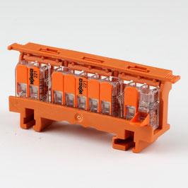 221-500 Befestigungsadapter mit 2 x 221-412 / 1x 221-415 Wago Compact Verbindungsklemme