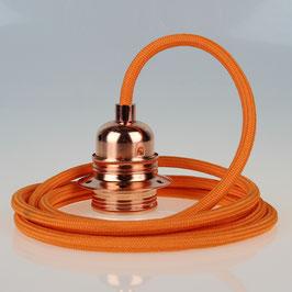 Textilkabel Pendelleitung orange E27 Fassung Metall Kupfer und 2 Schraubringe