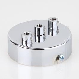 Lampen Metall Baldachin 80x25mm verchromt für 3 Lampenpendel mit Zugentlaster aus Metall