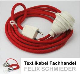 Textilkabel Leuchtenpendel rot mit E27 Kunststoff-Fassung mit Außengewinde und Euro-Flachstecker weiß