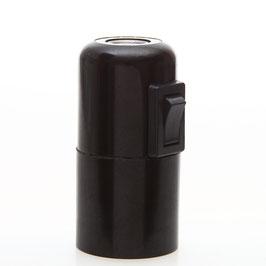 E27 Bakelit Fassung Glattmantel schwarz mit Kippschalter 2A/250V