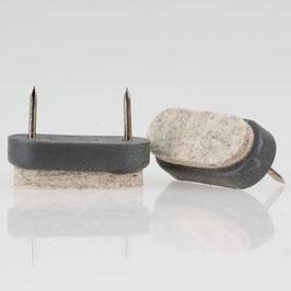 Filzgleiter grau 38x18 mm mit Nagel zum Einschlagen
