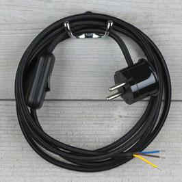 Textilkabel Anschlussleitung 2-5m schwarz mit Schalter u. Schutzkontakt Winkelstecker