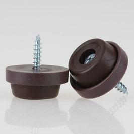 Möbelstopper 24 mm Kunststoff braun mit Schraube