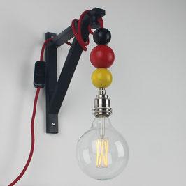 Textilkabel Galgen-Lampe Deutschland mit Holzkugeln E27 Vintage Fassung ohne Leuchtmittel