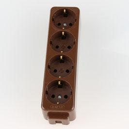 Kaiser Tischsteckdose Steckdosenleiste braun 4-fach 250V/16A ohne Kabel mit Bodenplatte