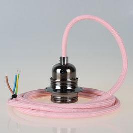 Textilkabel Pendelleitung rosa mit E27 Fassung Metall schwarz-chrom und 2 Schraubringe