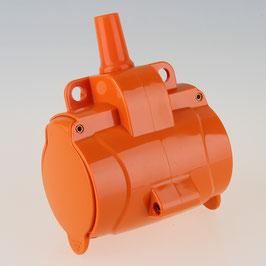 3-fach Schutzkontakt-Kupplung orange mit Klappdeckel IP54