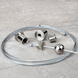 1,5 Meter Befestigungs-Set für Ast-Lampe 2x Stahlseil, 2x Seilstopper