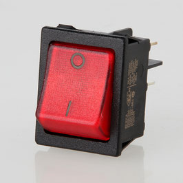 Wippschalter beleuchtet 2-polig 30x22 mm 250V/16A