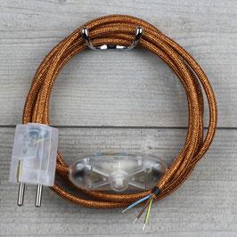 Textilkabel Anschlussleitung 2-5m kupfer-metallic mit Schalter u. Schutzkontakt Winkelstecker