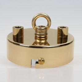 3 Loch Lampen Baldachin 80x25 Metall Messing poliert mit Ringnippel 22mm fuer Kettenaufhaengung
