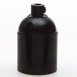 E27 Bakelit Fassung schwarz Glattmantel mit Zugentlaster Metall