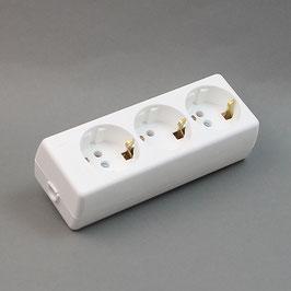 Steckdosenleiste / Tischsteckdose 3-fach weiß 16A/250V ohne Zuleitungs-Kabel für Selbstmontage
