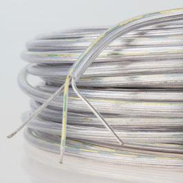 FEP/PVC Lampen-Kabel transparent 3-adrig, 3x0,75mm² Durchmesser 5,7mm T. max.105° C