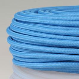 Textilkabel Stoffkabel himmelblau 3-adrig 3x0,75 Schlauchleitung 3G 0,75 H03VV-F