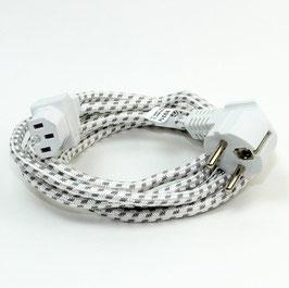 Europa-Gerätezuleitung 2 Meter Textilumflochten weiß-grau mit zwei System Schutzkontakt-Winkelstecker