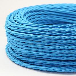 Textilkabel Stoffkabel hellblau 3-adrig 3x0,75 gedreht verseilt einzeln umflochten