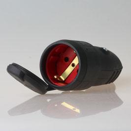 N&L Schutzkontakt Gummi-Kupplung schwarz mit Deckel 250V/16A IP44