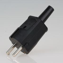 Schutzkontakt-Stecker schwarz 250V/16A mit Knickschutztuelle schlagfestes Thermoplast
