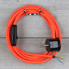 Textilkabel Anschlussleitung 2-5m neon-rot mit Schalter u. Schutzkontakt Winkelstecker