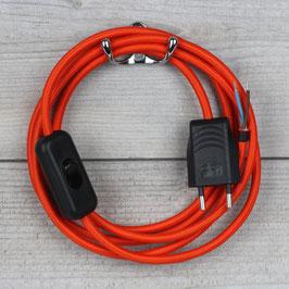 Textilkabel Anschlussleitung 2-5m orange mit Schalter und Euro-Flachstecker