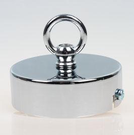 Lampen Baldachin 80x25 Metall verchromt mit Ringnippel 30mm fuer Kettenaufhaengung