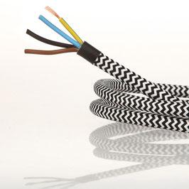 Textilkabel Stoffkabel schwarz-weiß Zick Zack Muster 4-adrig 4x0,75 Schlauchleitung