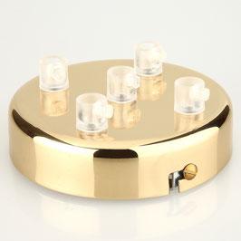 Lampen Metall Baldachin 100x25mm vermessingt für 5 Lampenpendel mit Zugentlaster aus Kunststoff