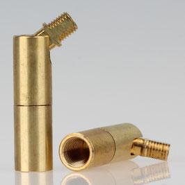 Lampen Dreh-Kippgelenk Messing roh M10x1 IG auf M8x1 AG 13x57mm