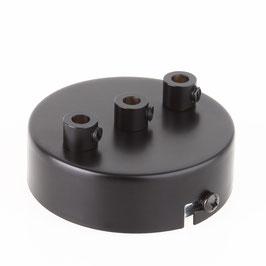 Lampen Metall Baldachin 80x25mm schwarz für 3 Lampenpendel mit Zugentlaster aus Metall