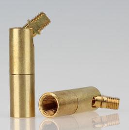Lampen Dreh-Kippgelenk Messing roh M10x1 IG auf M8x1 AG 13x52mm