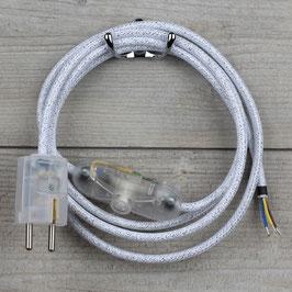 Textilkabel Anschlussleitung 2-5m weiß metallic mit Schalter u. Schutzkontakt Winkelstecker