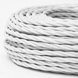 Textilkabel Stoffkabel weiß 3-adrig 3x0,75 gedreht verseilt einzeln umflochten