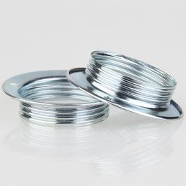 2x E27 Unterring Schraubring Metall verchromt 56x13 mm für Metallfassung