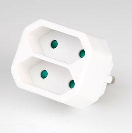 Steckdosen Adapter Schutzkontaktstecker- Adapter, weiß mit 2 Eurosteckdosen