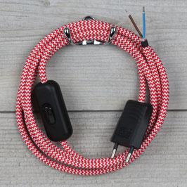 Textilkabel Anschlussleitung 2-5m rot-weiß Zick-Zack mit Schalter und Euro-Flachstecker