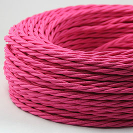 Textilkabel Stoffkabel pink 3-adrig 3x0,75 gedreht verseilt einzeln umflochten