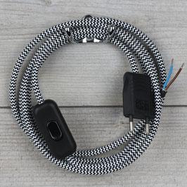 Textilkabel Anschlussleitung 2-5m schwarz-weiß Zick-Zack mit Schalter und Euro-Flachstecker