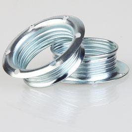 2x E14 Schraubringe Metall verchromt 40x12,5mm für Metallfassung
