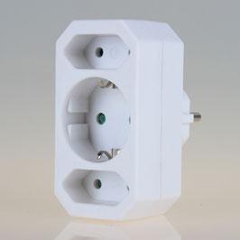 Steckdosen-Adapter weiß 16A/250V 2 x Eurosteckdose 1 x Schutzkontakt-Steckdose