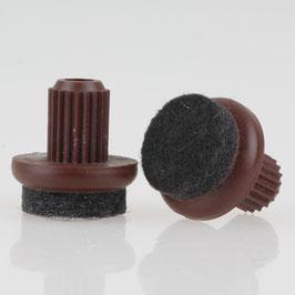 Filzgleiter 17 mm braun mit Zapfen zum Einsetzen in 10 mm Bohrungen