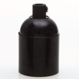 E27 Bakelit Fassung schwarz Glattmantel mit Zugentlaster Kunststoff