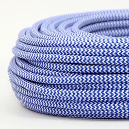 Textilkabel Stoffkabel dunkelblau-weiß Zick Zack Muster 3-adrig 3x0,75 Gummischlauchleitung 3G 0,75 H03VV-F textilummantelt
